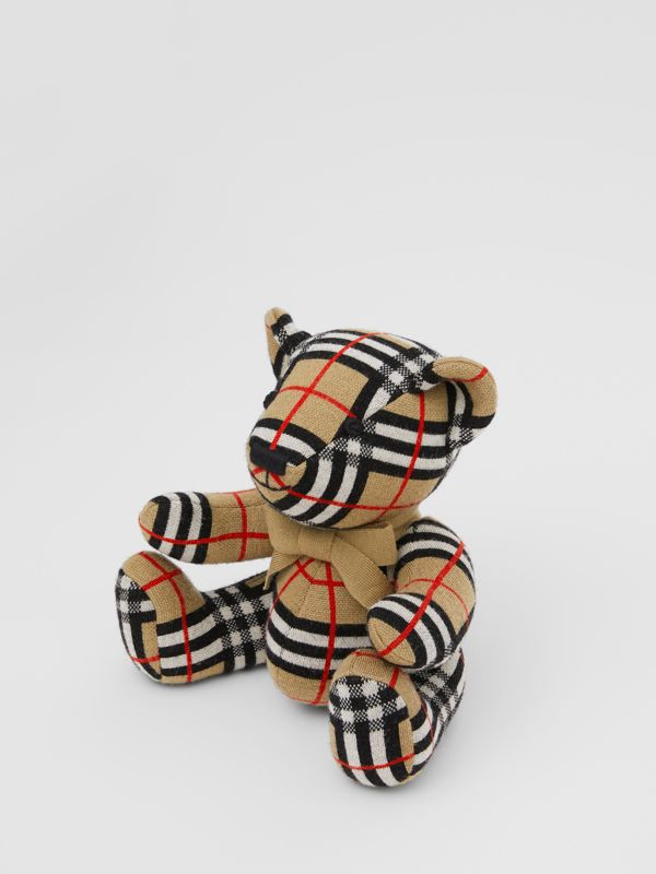 Check Merino Wool Thomas Bear in Archive Beige - Children | Burberry United States - cell image 2