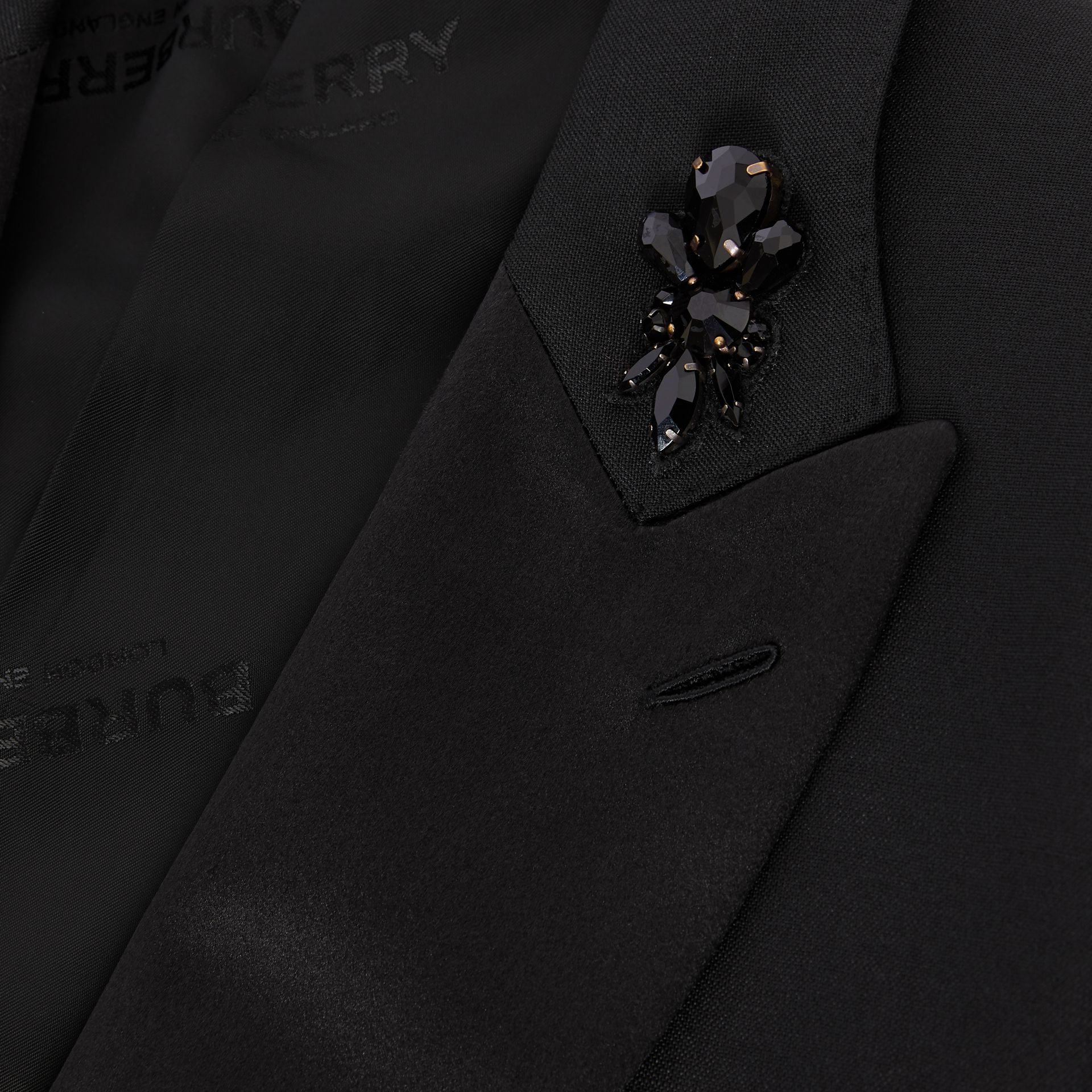 English Fit Embellished Mohair Wool Tuxedo Jacket in Black - Men | Burberry - gallery image 7