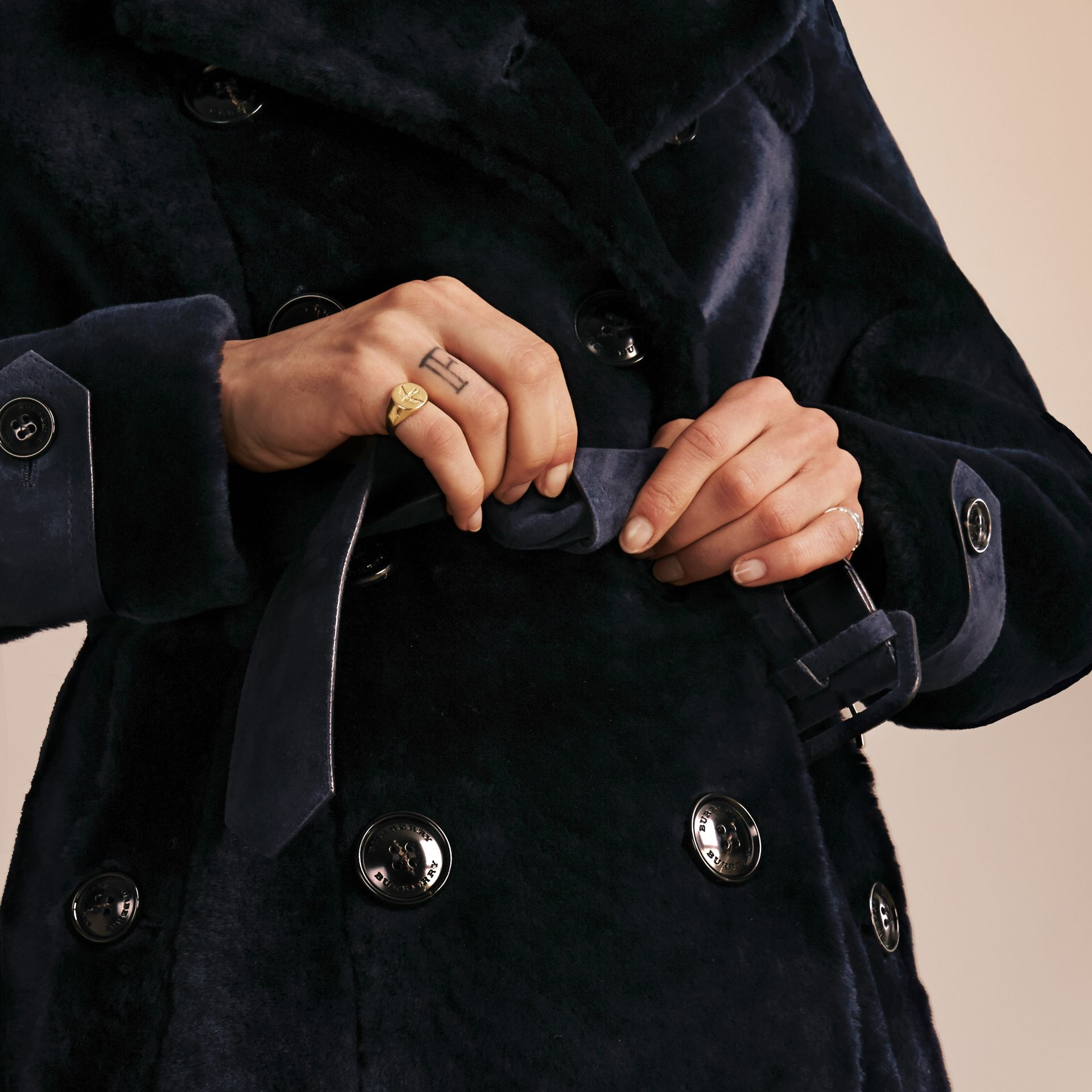 Navy Double-breasted Shearling Trench Coat - gallery image 5