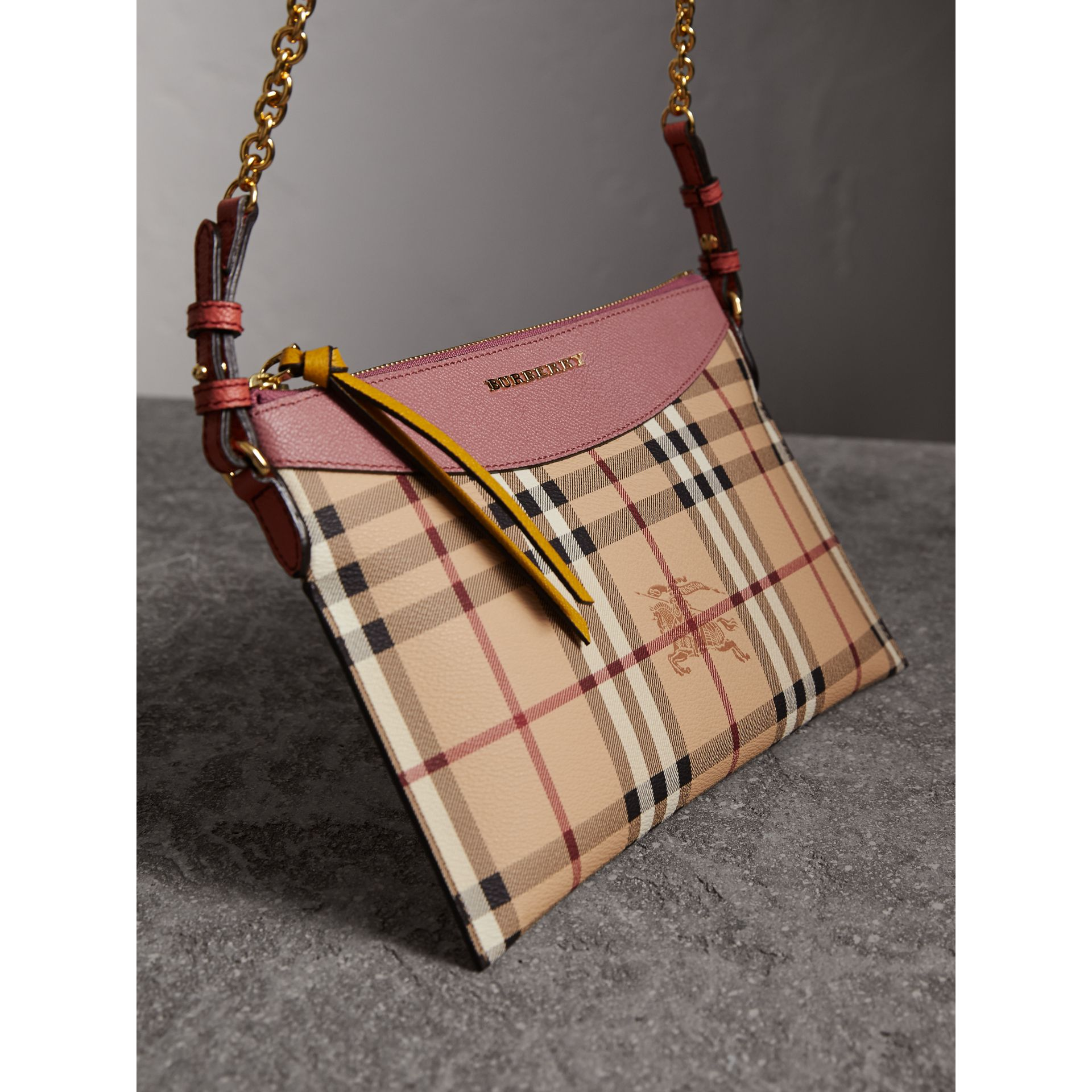 Haymarket Check and Two-tone Leather Clutch Bag in Dusty Pink/multicolour - Women | Burberry - gallery image 6