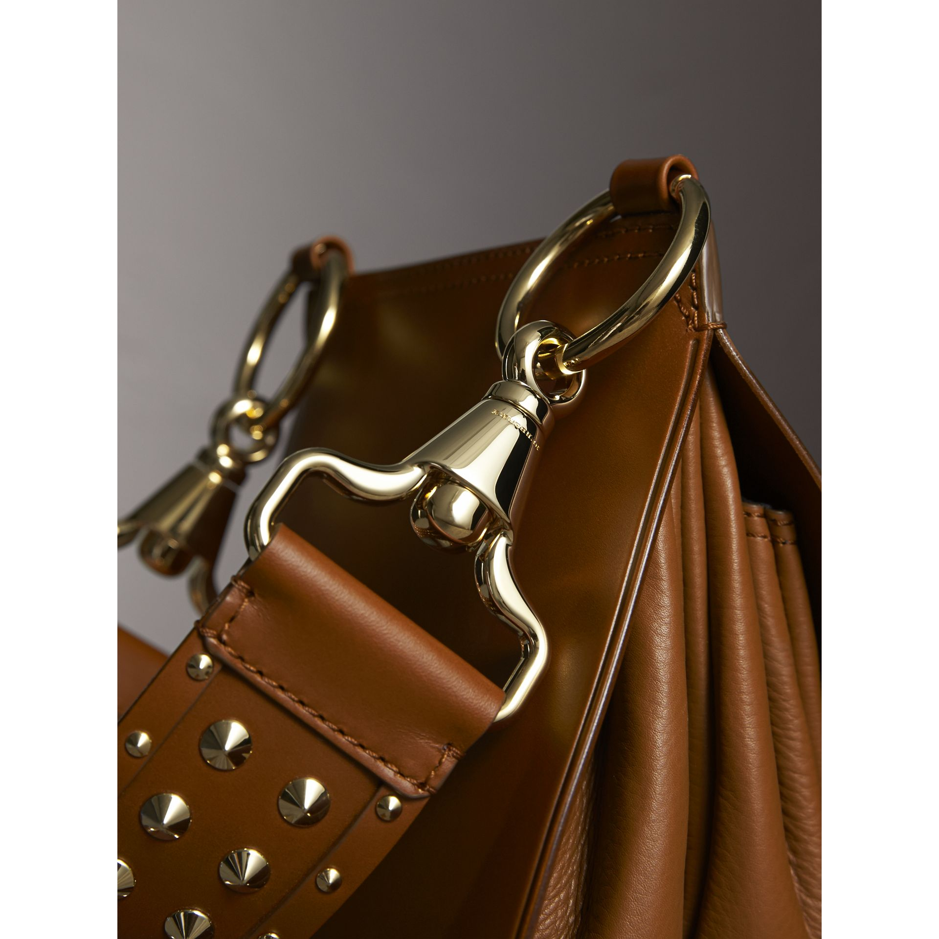 The Bridle Bag in Leather and Alligator in Tan - Women | Burberry - gallery image 7