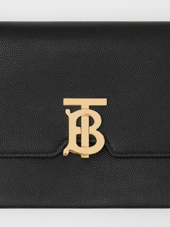 Small Monogram Motif Leather Crossbody Bag in Black - Women | Burberry - cell image 1