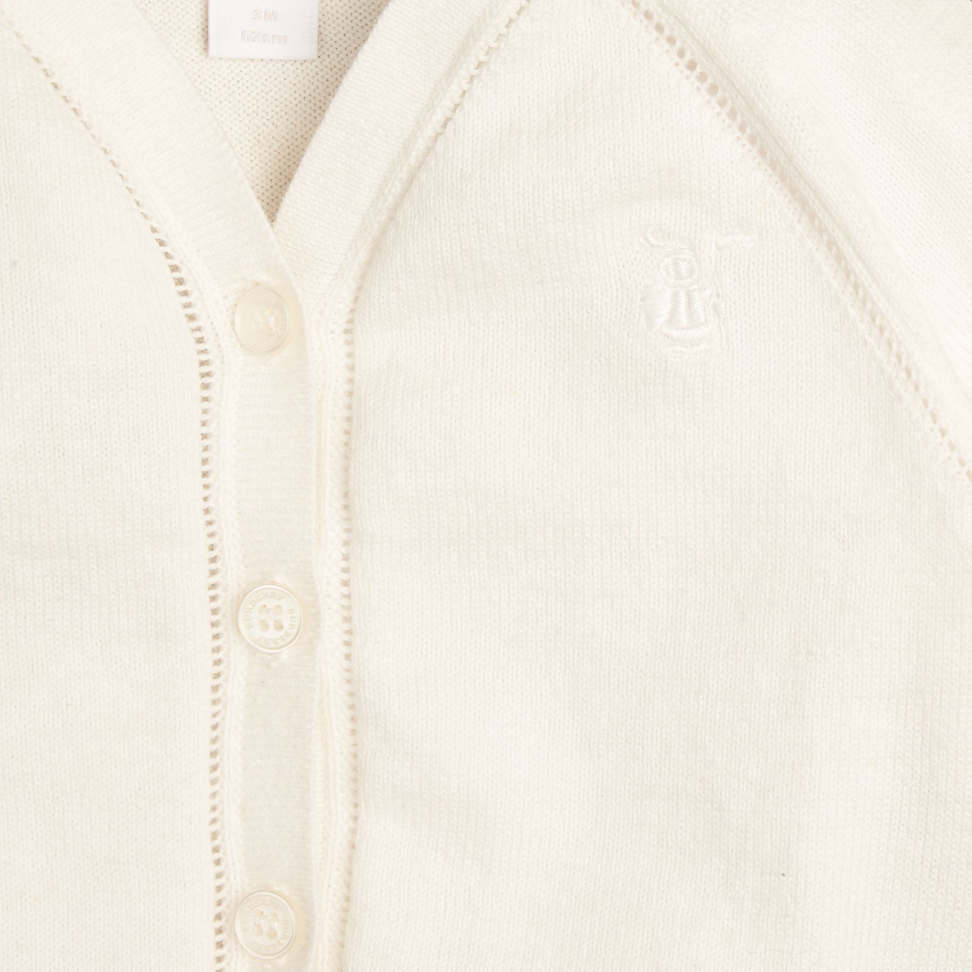 White Open Stitch Detail Cotton Cardigan - gallery image 2