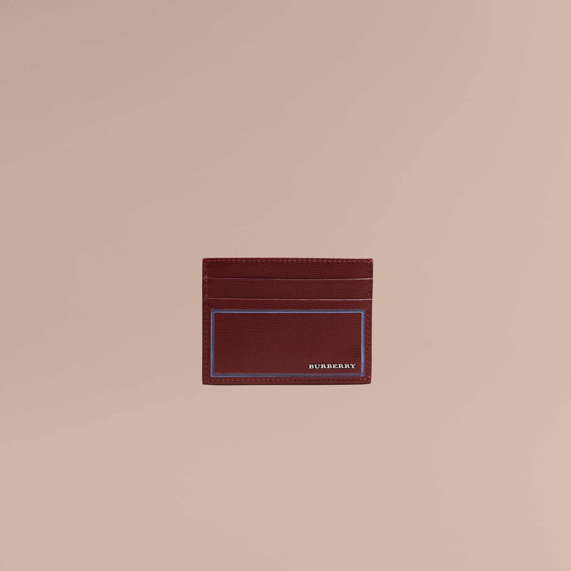 Border Detail London Leather Card Case in Burgundy Red - gallery image 2