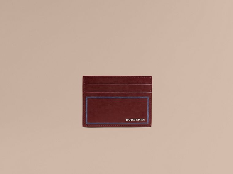 Border Detail London Leather Card Case in Burgundy Red | Burberry - cell image 1
