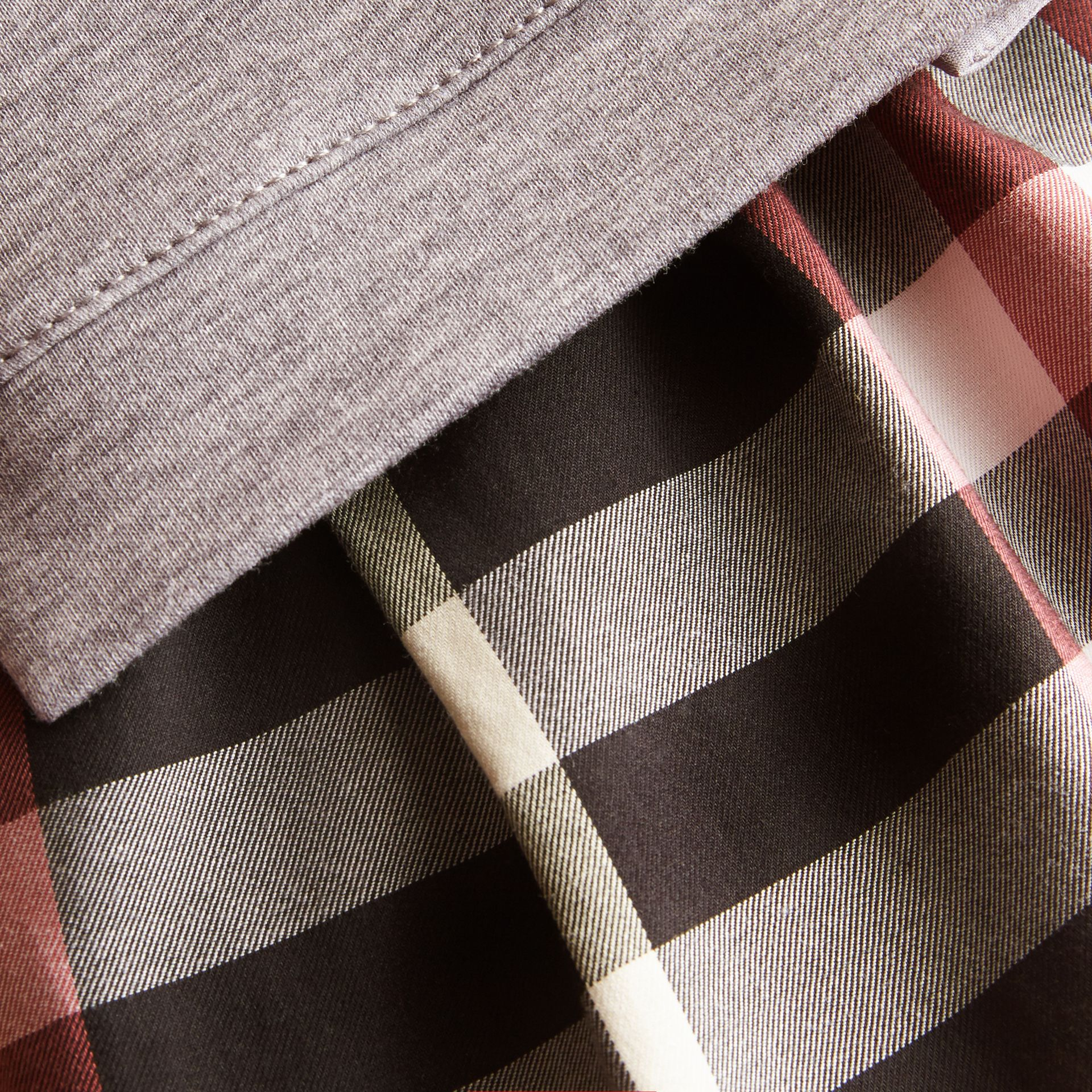 Contrast Check Sweater Dress in Dusty Pink | Burberry - gallery image 1