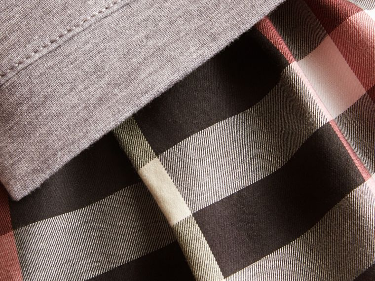Contrast Check Sweater Dress in Dusty Pink | Burberry - cell image 1