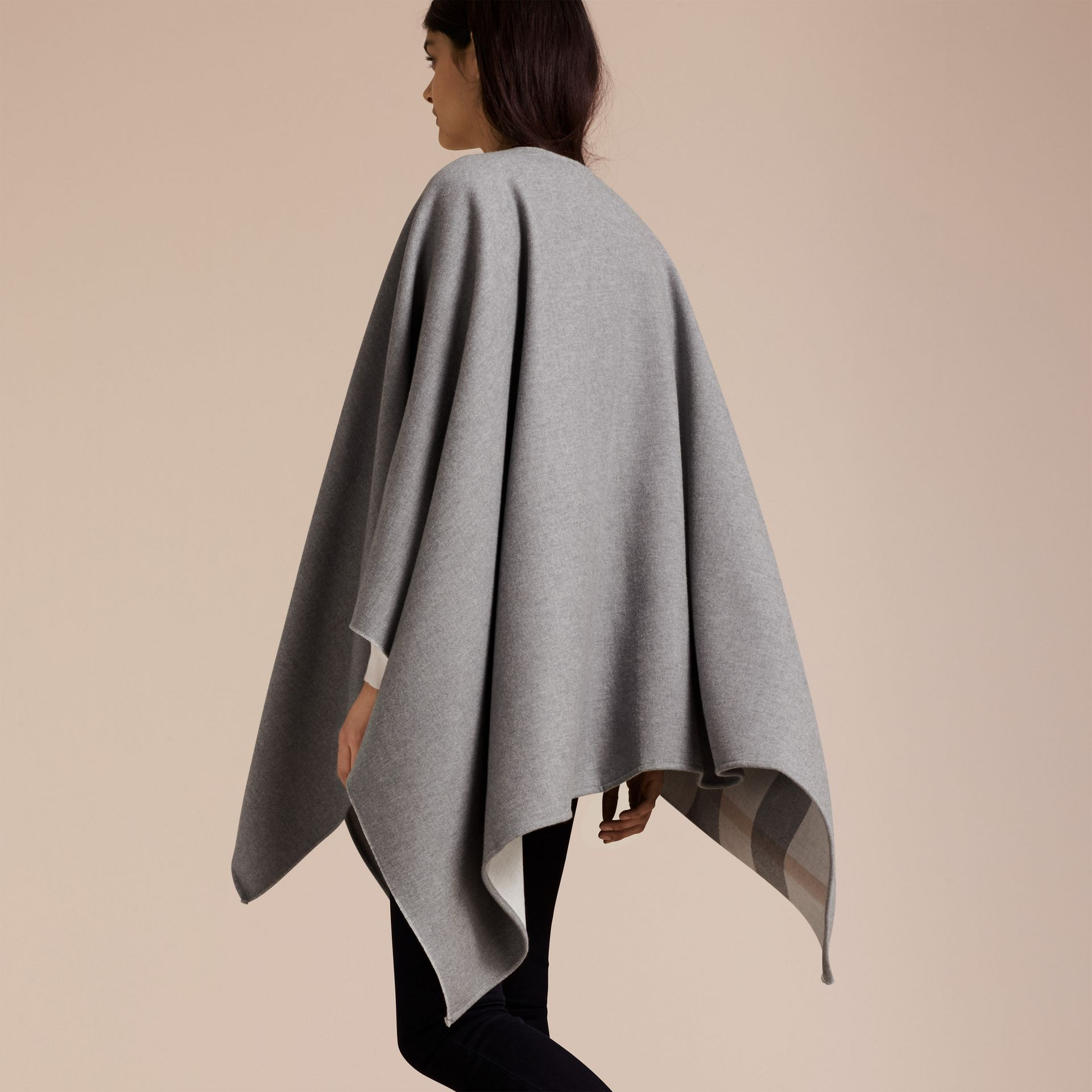Reversible Check Merino Wool Poncho Light Grey - gallery image 6