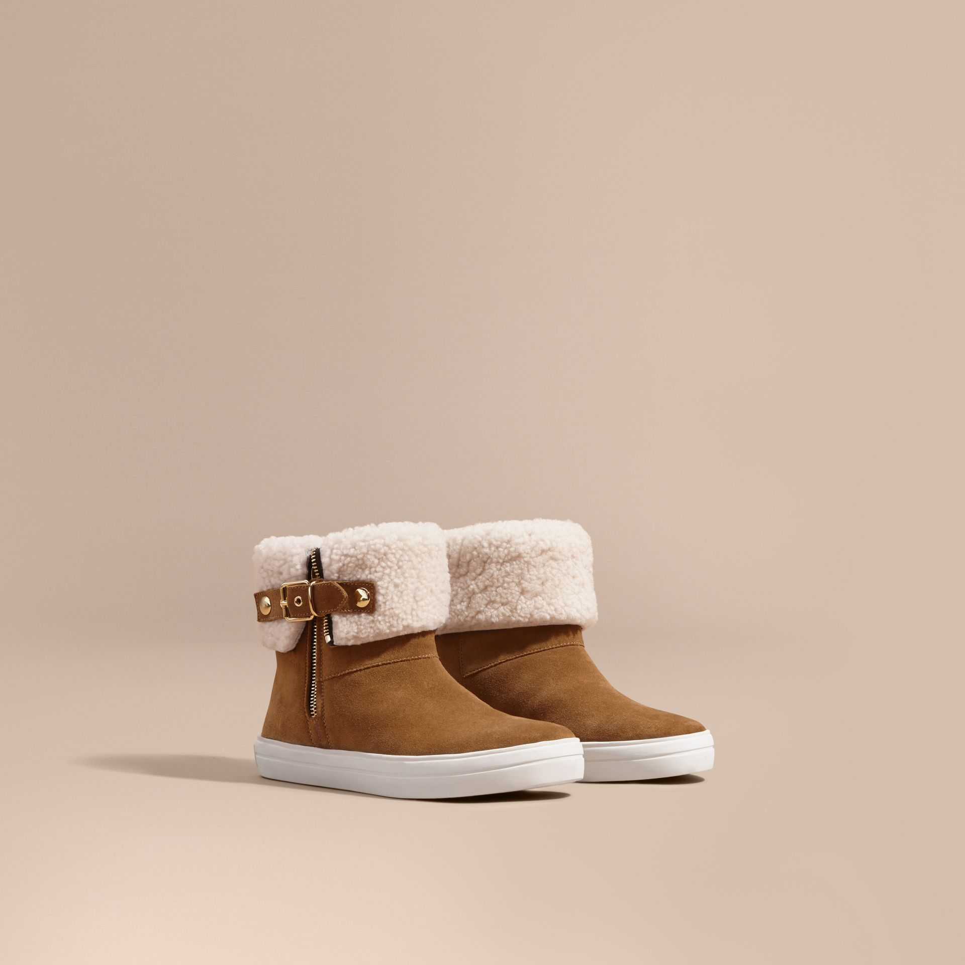 Oak brown Shearling-lined Suede Ankle Boots Oak Brown - gallery image 1