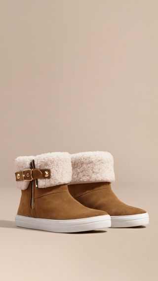 Bottines en cuir velours doublées en shearling