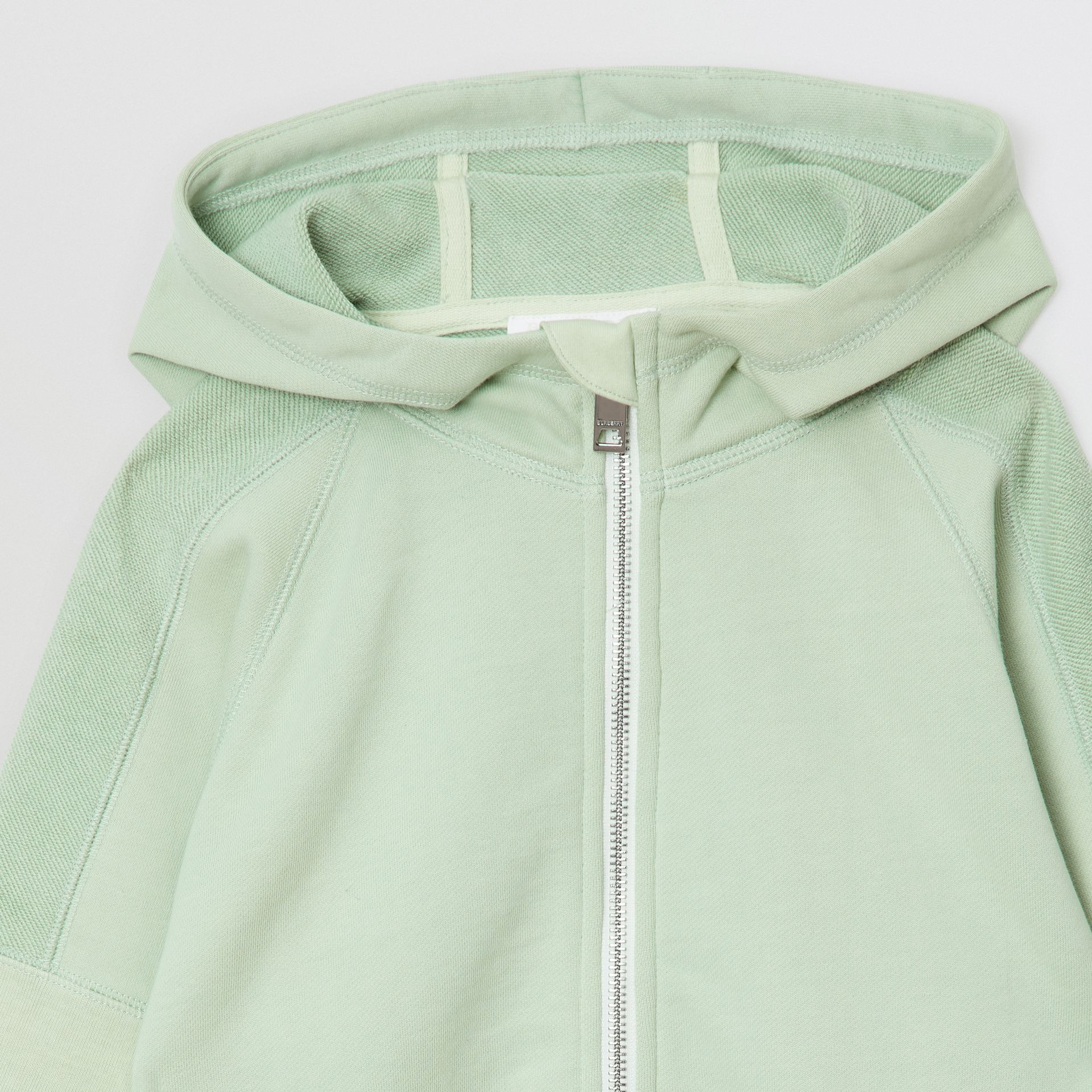 Logo Print Cotton Hooded Top in Pale Mint | Burberry - gallery image 4