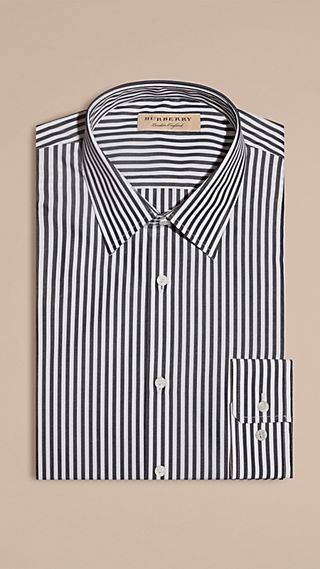 Slim Fit Striped Cotton Poplin Shirt