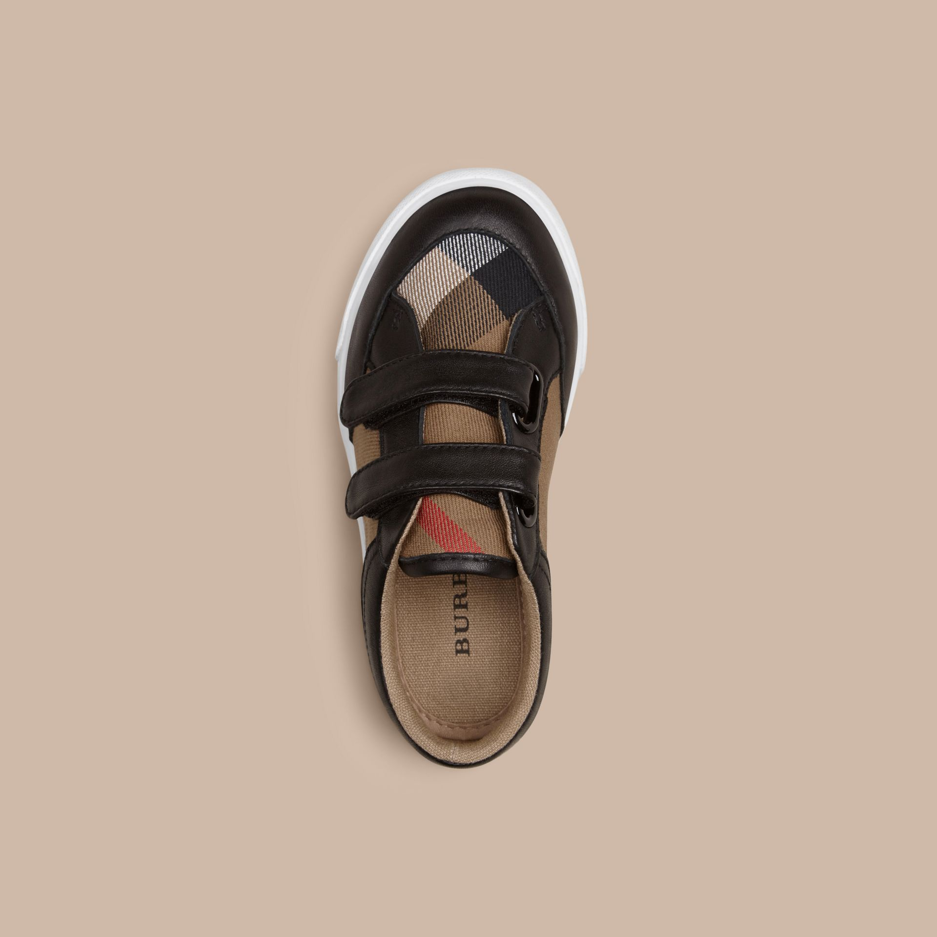 House Check and Leather Trainers in Black | Burberry Canada - gallery image 2