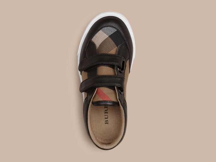 House Check and Leather Trainers in Black | Burberry Australia - cell image 1