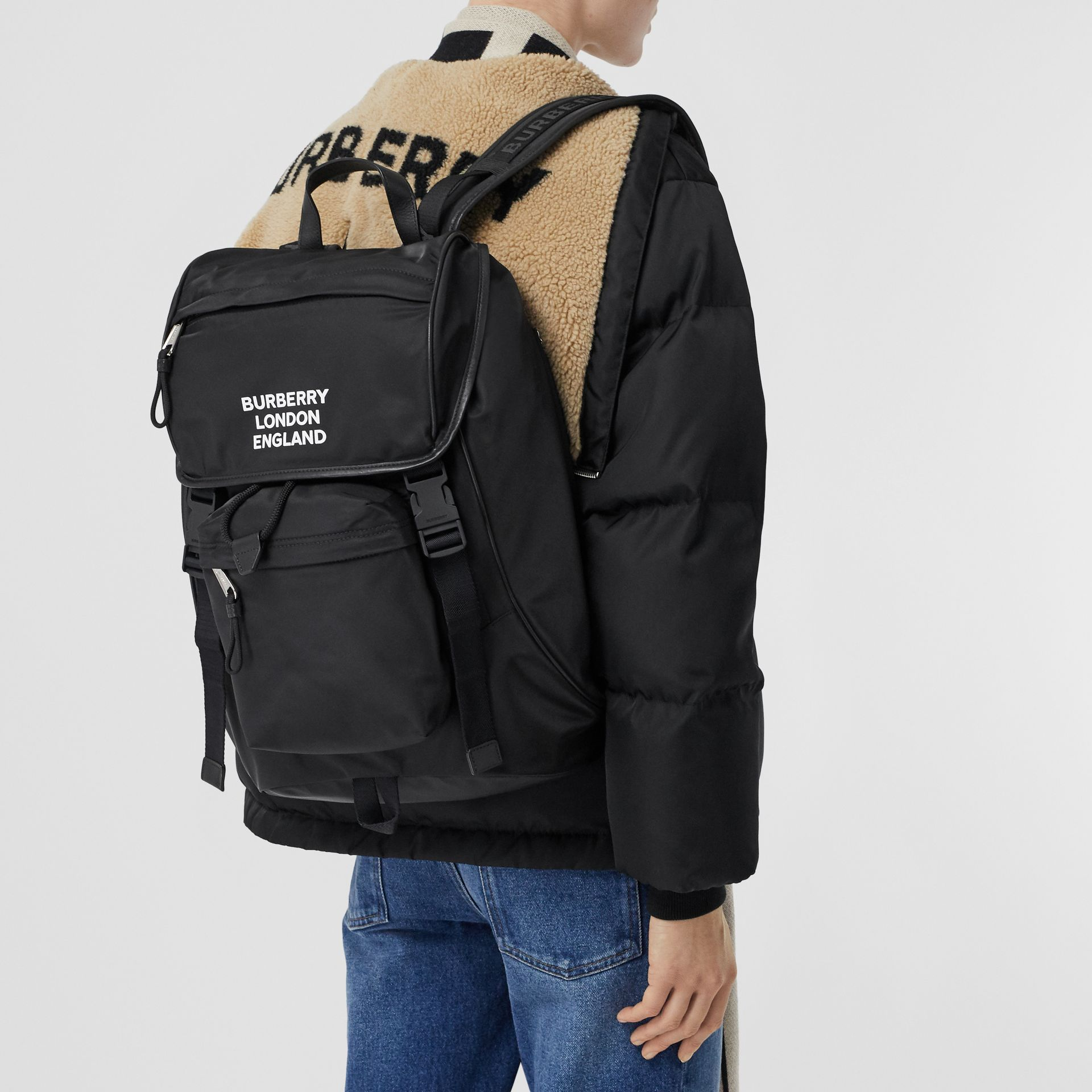 Logo Print ECONYL® Backpack in Black | Burberry - gallery image 2