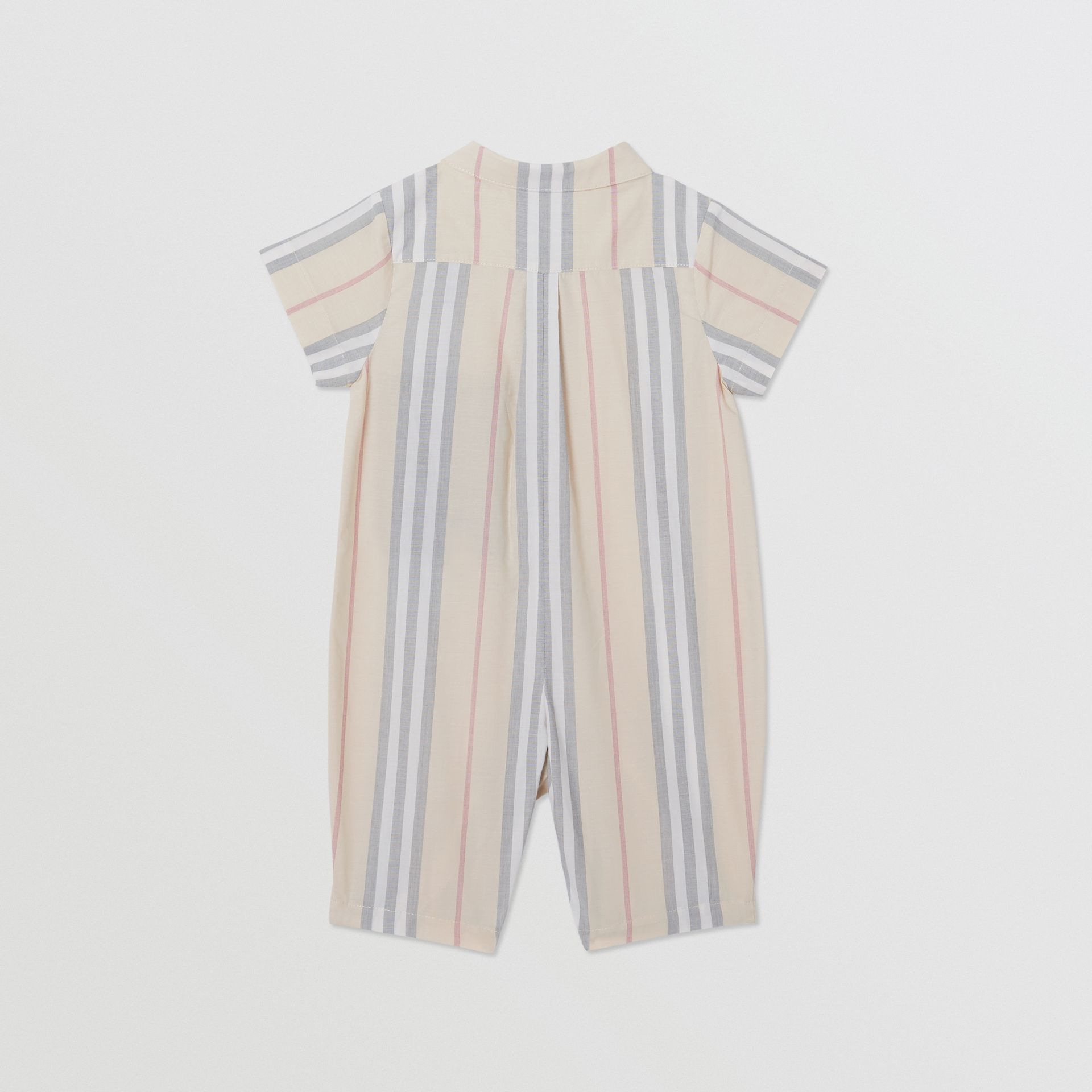 Icon Stripe Cotton Jumpsuit in Pale Stone - Children | Burberry - gallery image 3
