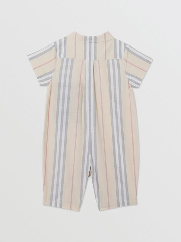 Icon Stripe Cotton Jumpsuit in Pale Stone - Children | Burberry - cell image 3