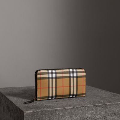 Vintage Check And Leather Ziparound Wallet, Black