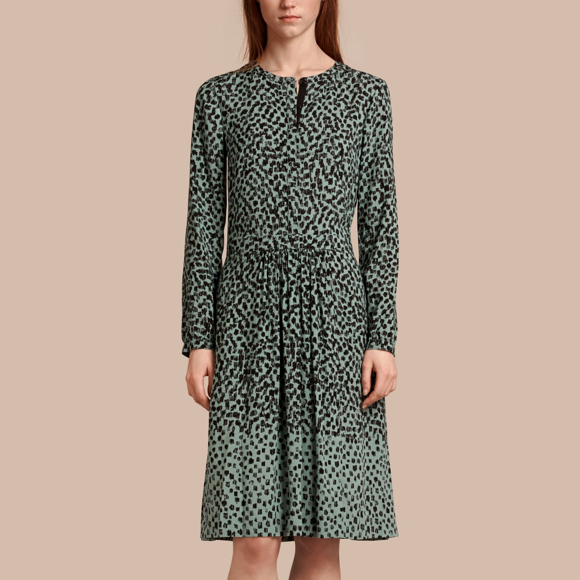 Mint green Dash Print Shirt Dress Mint Green - gallery image 1