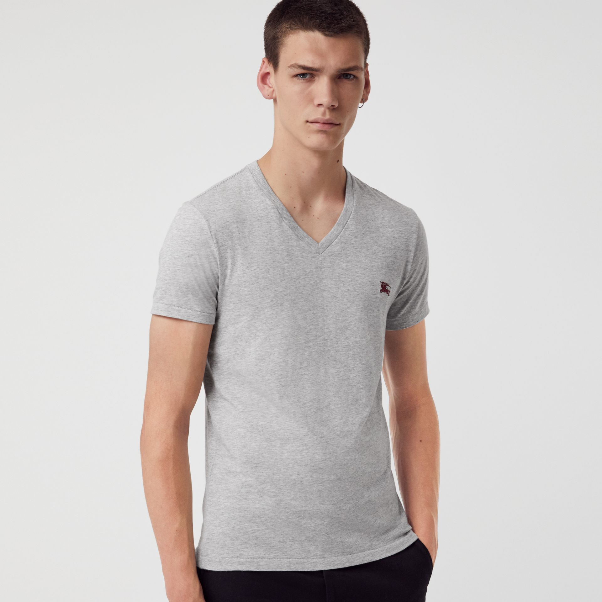 Cotton Jersey V-neck T-shirt in Pale Grey Melange - Men | Burberry - gallery image 4