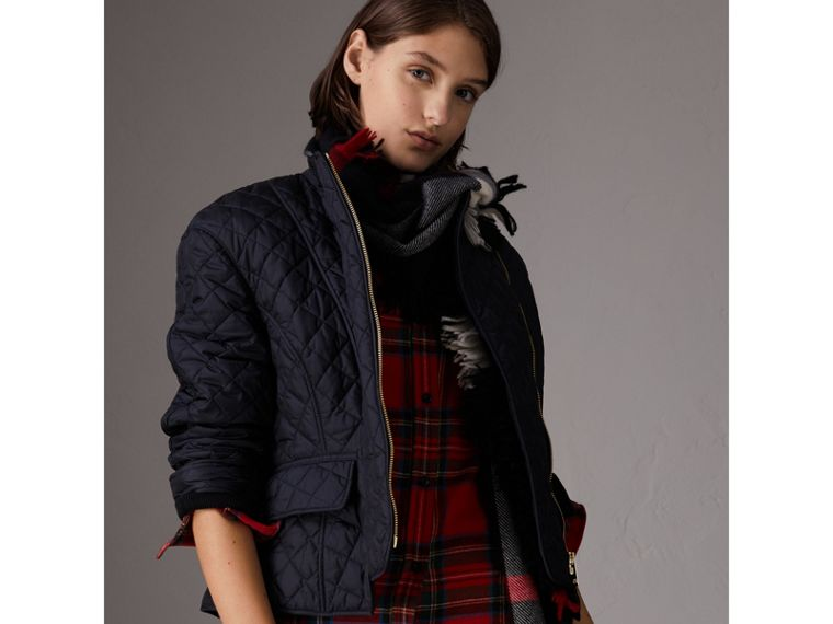 Diamond Quilted Jacket in Navy - Women | Burberry - cell image 4
