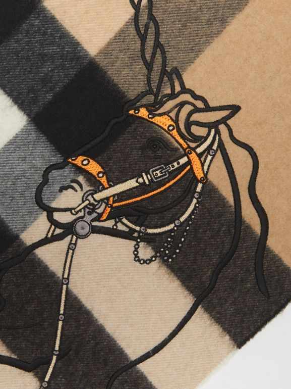 Unicorn Motif Check Cashmere Bandana in Camel | Burberry - cell image 1