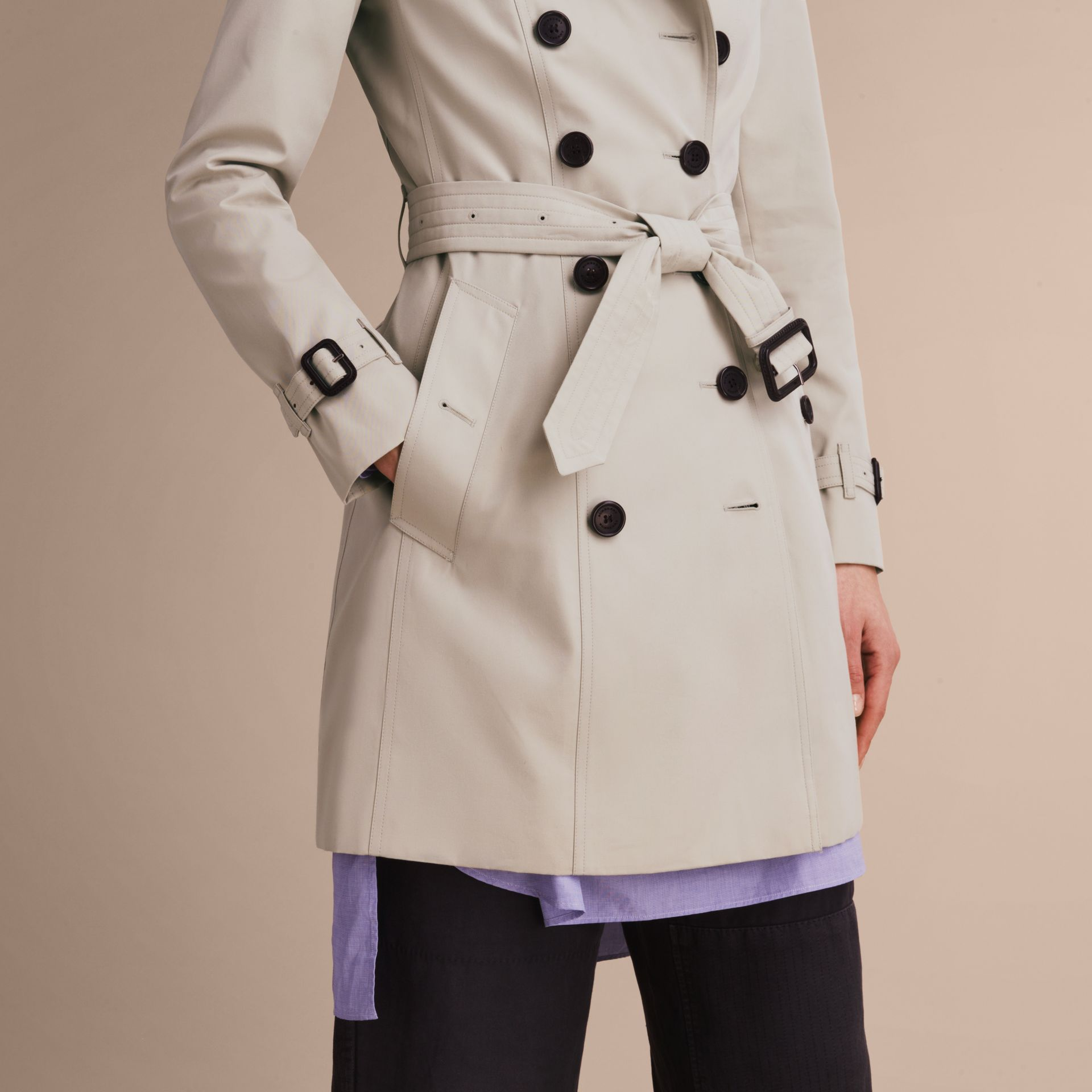 The Chelsea – Mid-length Heritage Trench Coat in Stone - Women | Burberry - gallery image 6