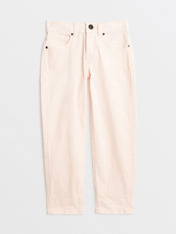 Relaxed Fit Stretch Denim Jeans in Pale Rose Pink