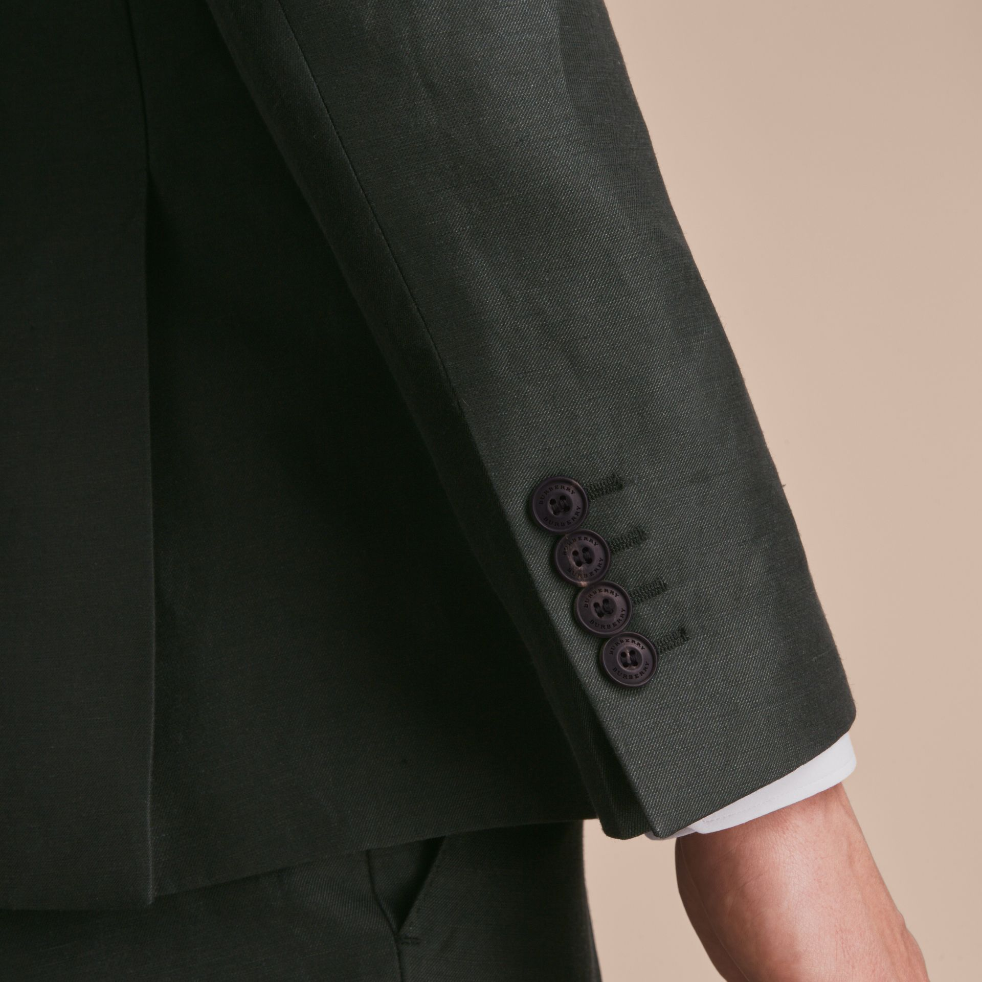 Slim Fit Travel Tailoring Linen Blend Suit in Slate Green - Men | Burberry - gallery image 7