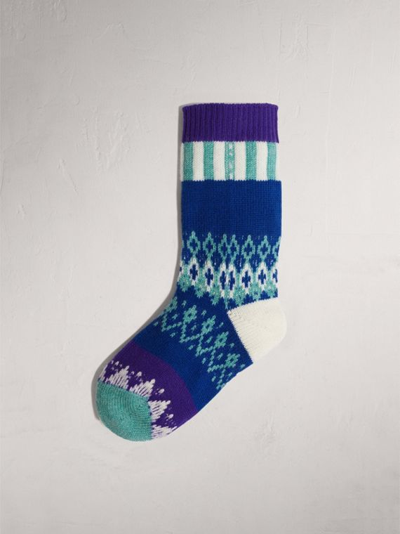 Fair Isle Cashmere Wool Patchwork Socks in Bright Blue