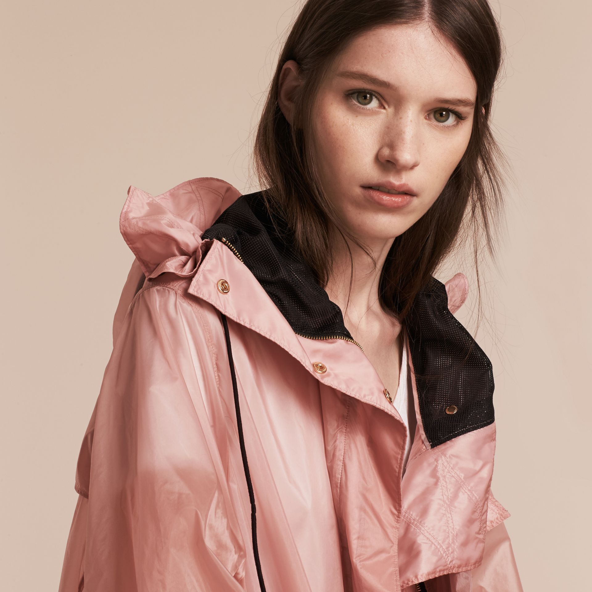 Hooded Lightweight Oversize Parka Ash Rose - gallery image 6