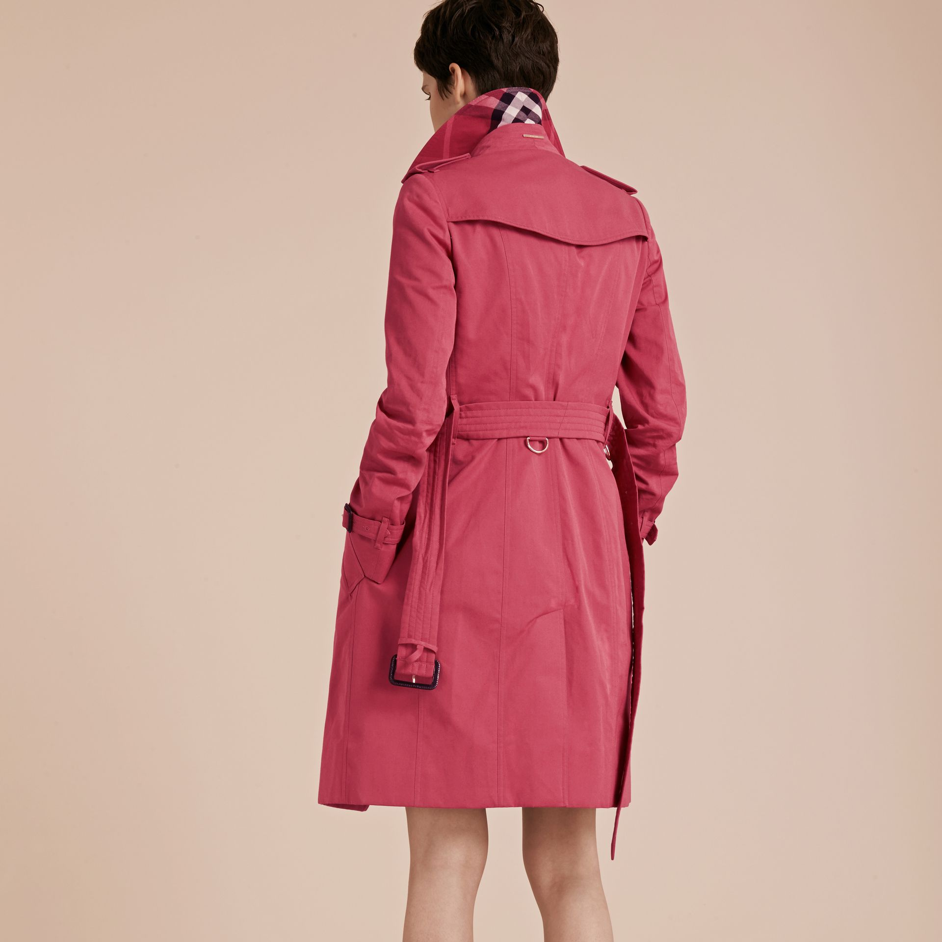 Bright copper pink Cotton Gabardine Trench Coat - gallery image 3