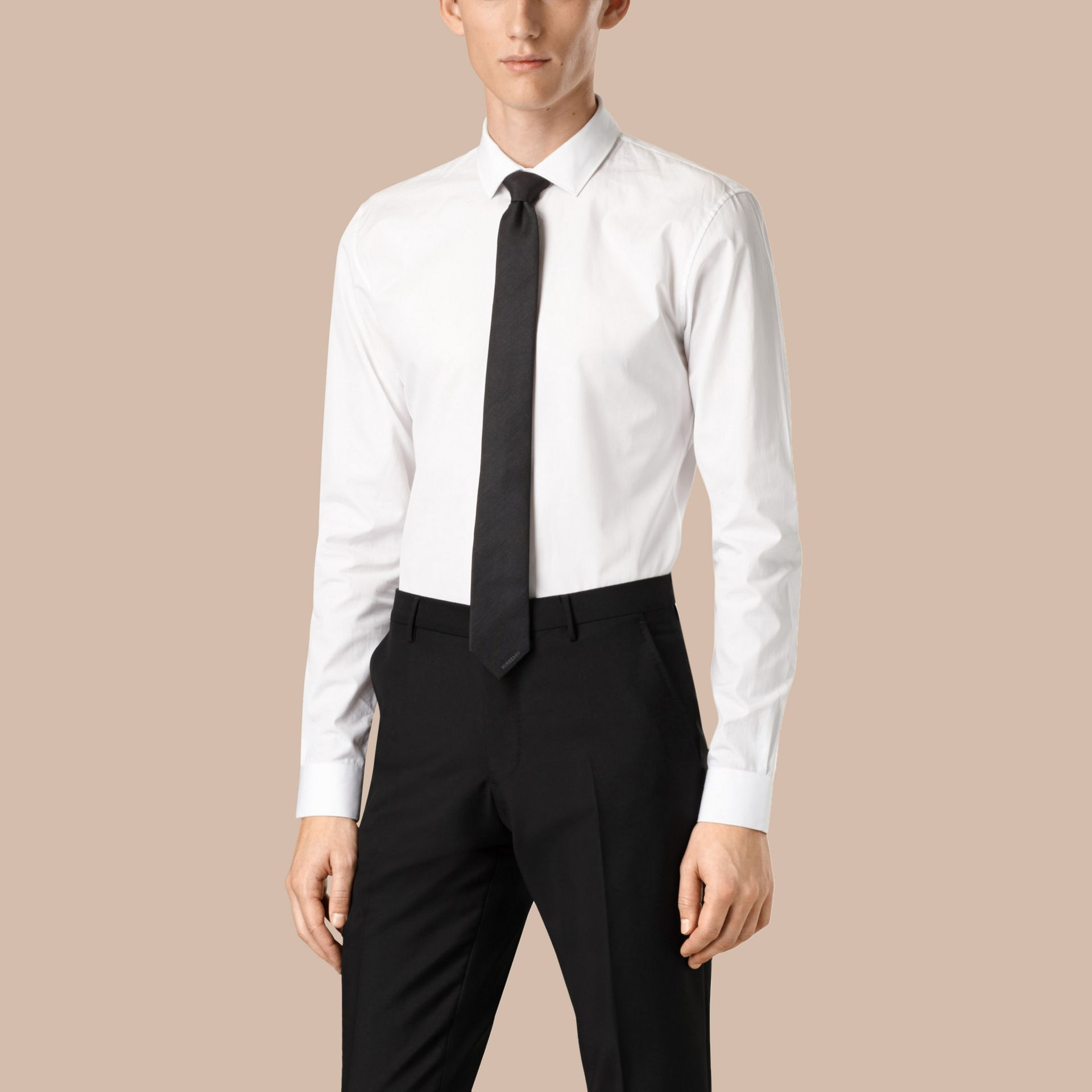 Slim Fit Cotton Poplin Shirt in White - Men | Burberry Canada - gallery image 1