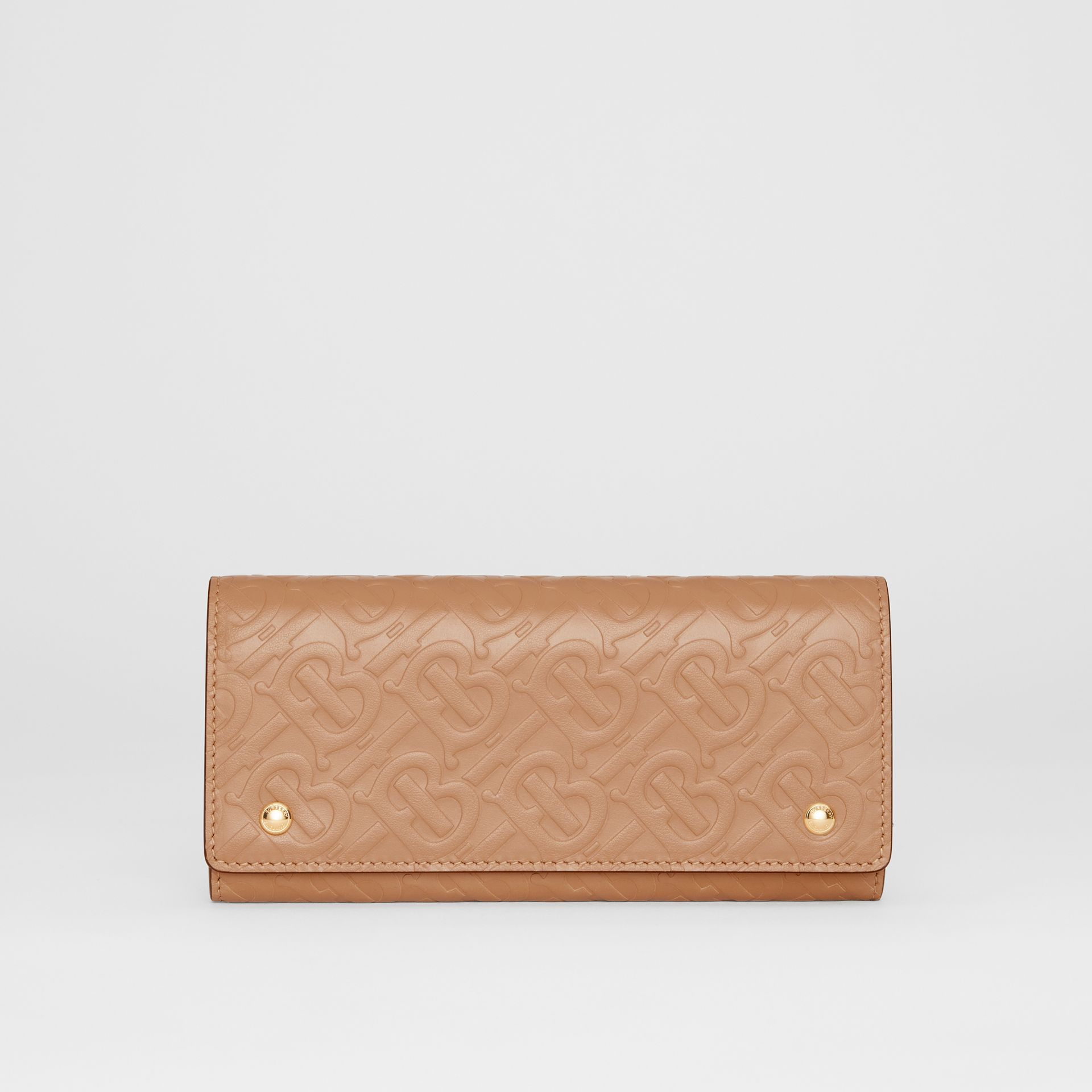 Monogram Leather Continental Wallet in Light Camel - Women | Burberry - gallery image 0