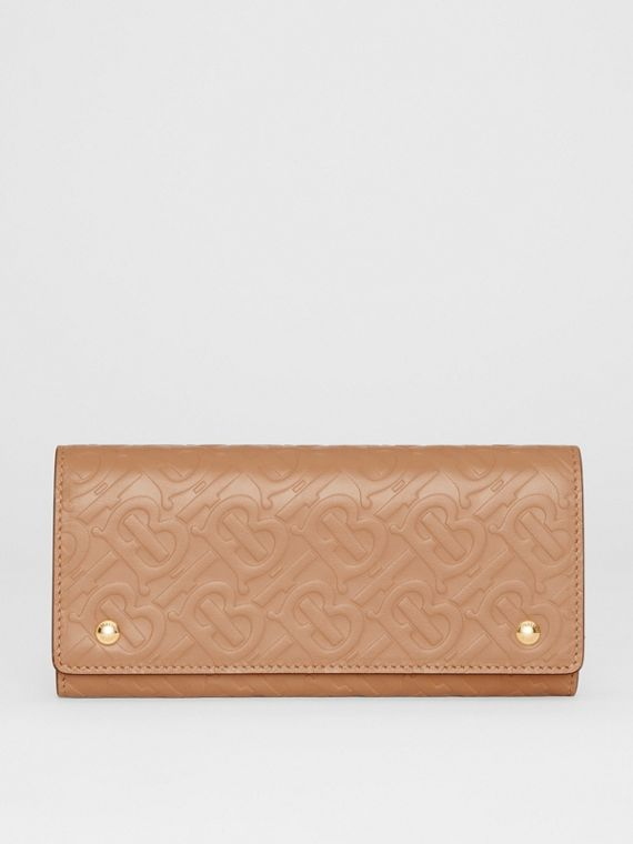 Monogram Leather Continental Wallet in Light Camel