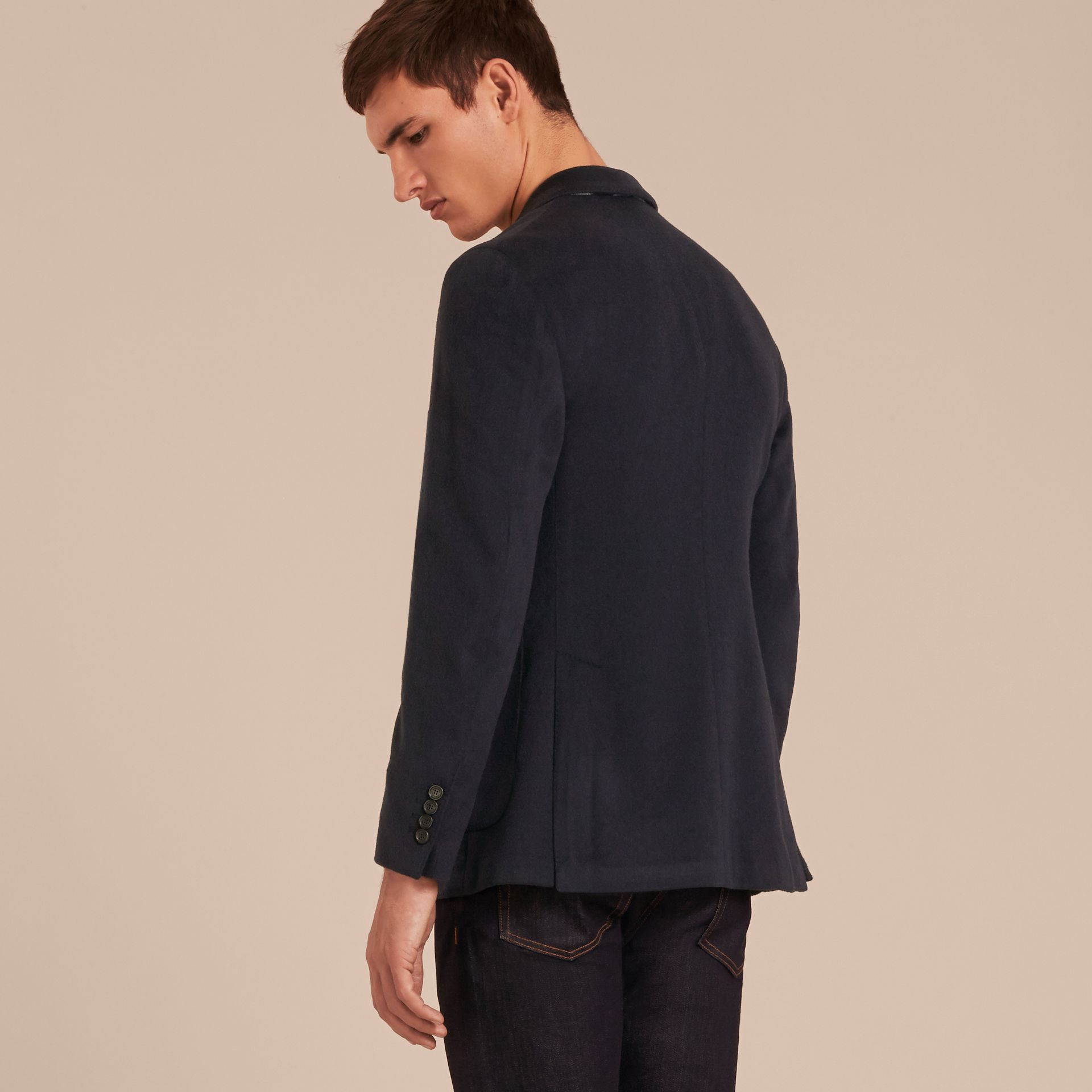 Modern Fit Lightweight Cashmere Tailored Jacket Navy Melange - gallery image 3