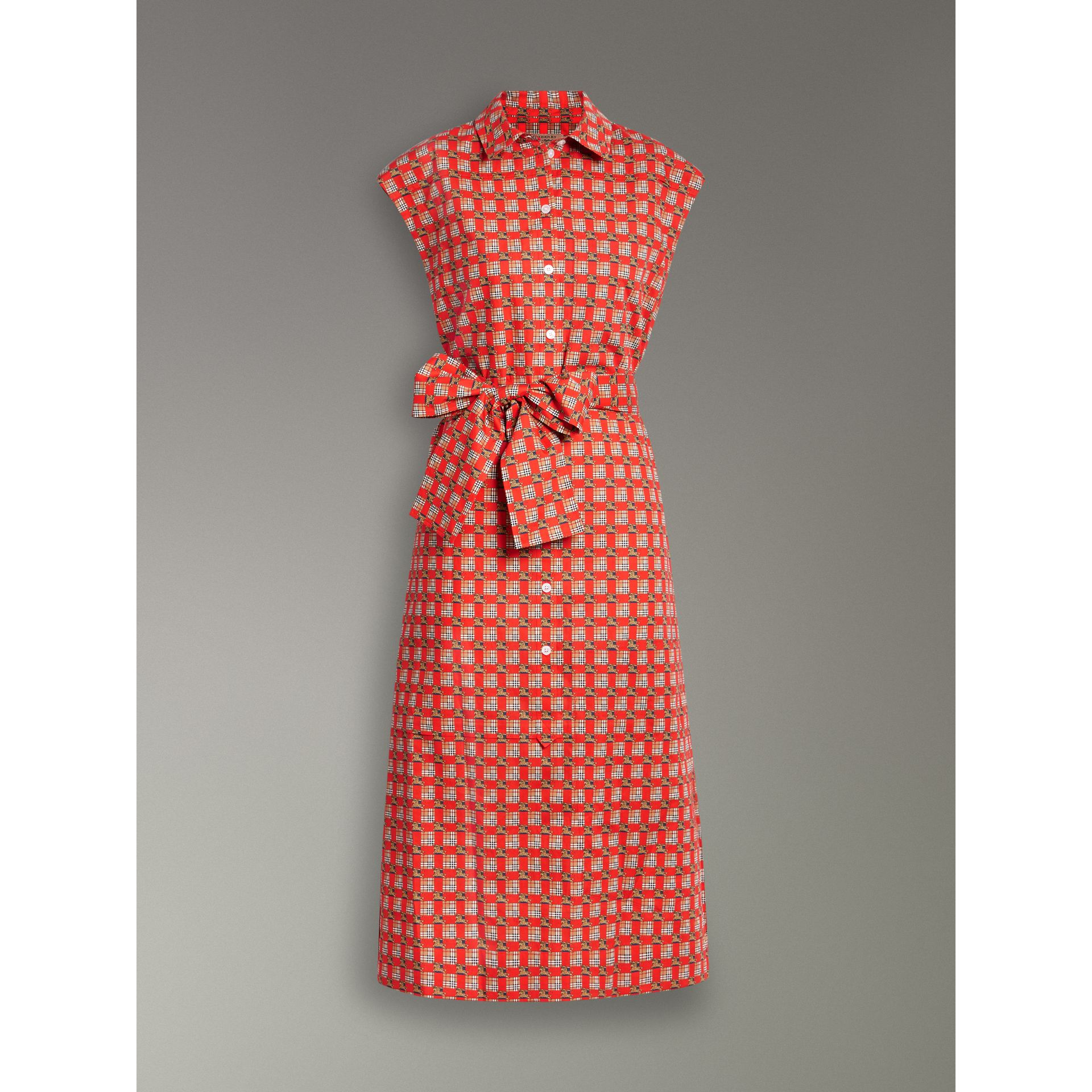 Tiled Archive Print Cotton Shirt Dress in Bright Red - Women | Burberry - gallery image 3