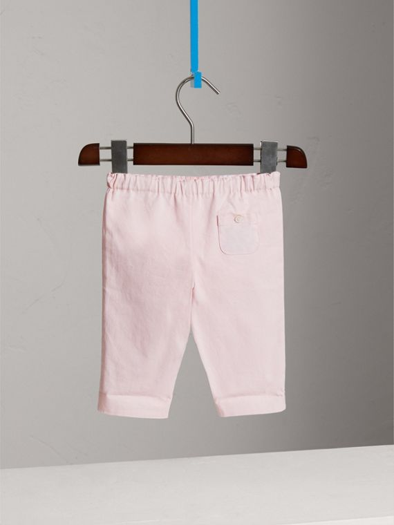 Check Turn-Up Cotton Trousers in Light Pink | Burberry Singapore - cell image 3