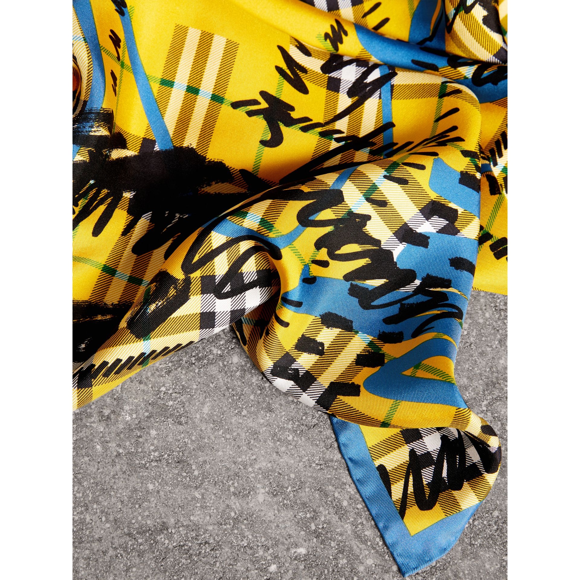 Scribble Check Silk Square Scarf in Bright Yellow - Women | Burberry - gallery image 1
