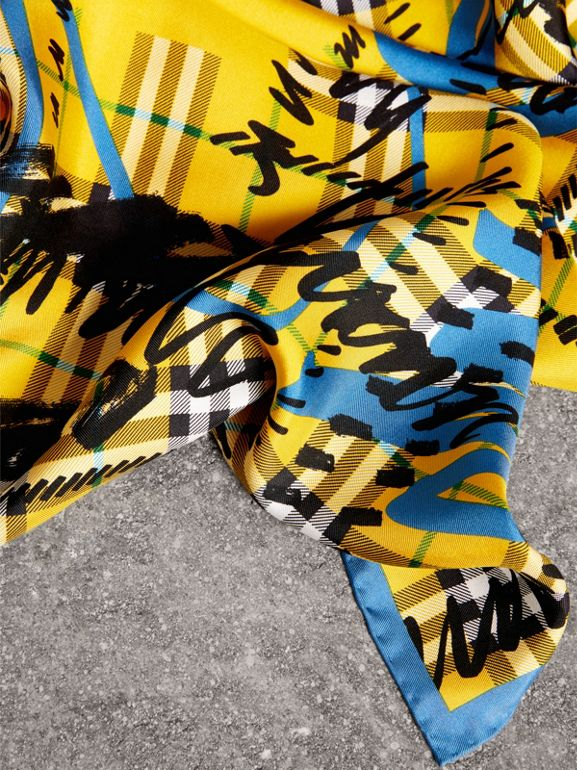 Scribble Check Silk Square Scarf in Bright Yellow | Burberry United Kingdom - cell image 1