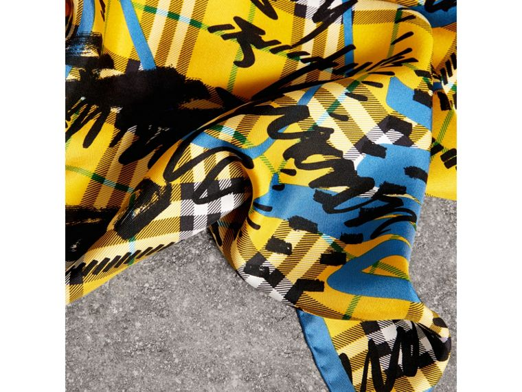 Scribble Check Silk Square Scarf in Bright Yellow - Women | Burberry - cell image 1