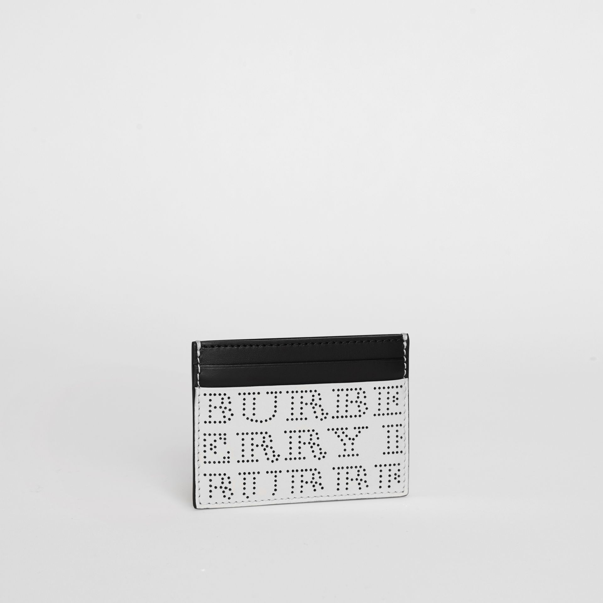 Perforated Logo Leather Card Case in Optic White - Men | Burberry Hong Kong - gallery image 4