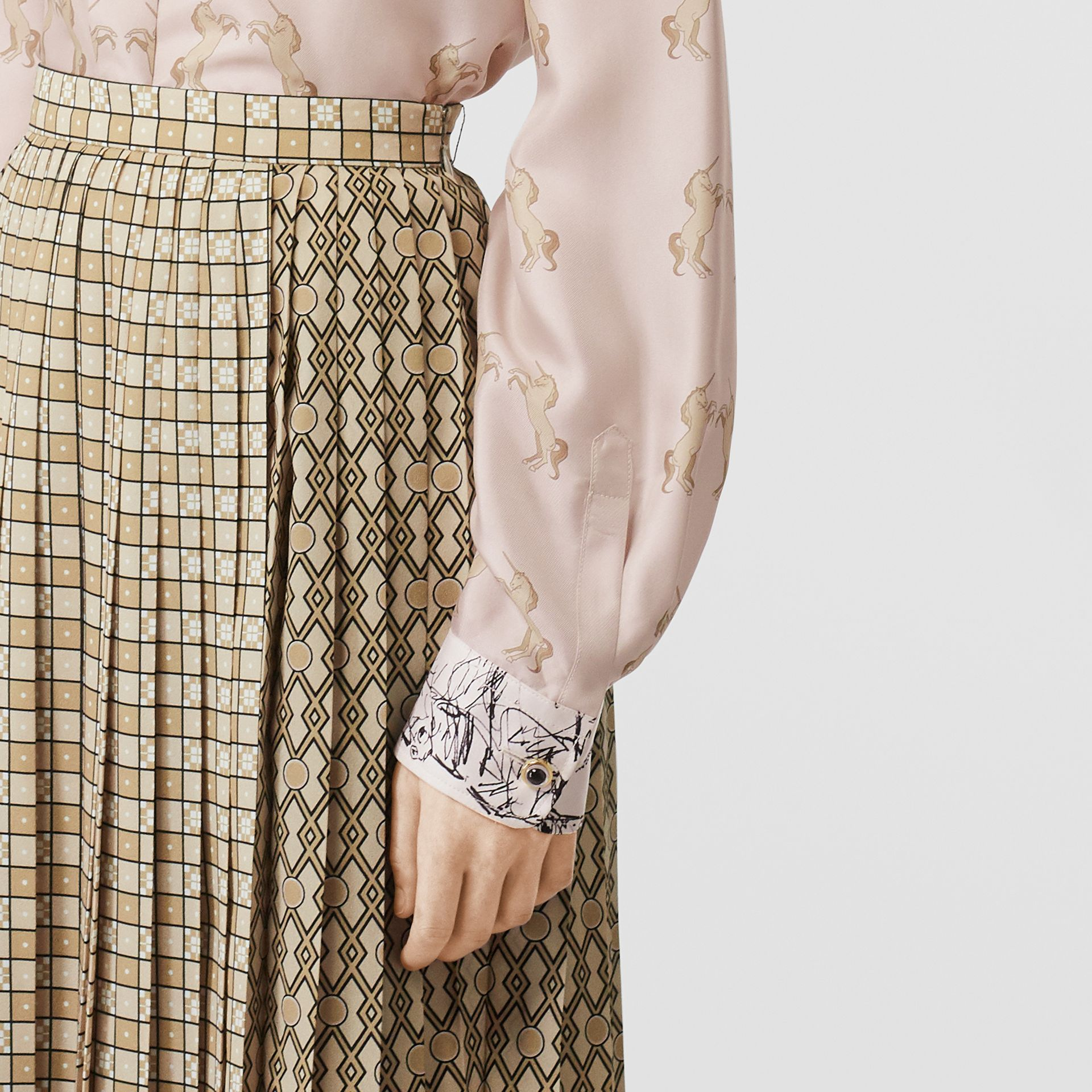 Contrast Unicorn Print Silk Twill Shirt in Pale Pink - Women | Burberry Singapore - gallery image 4