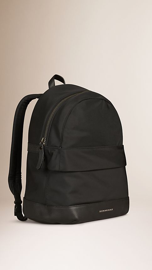Black Leather Detail Nylon Backpack - Image 3