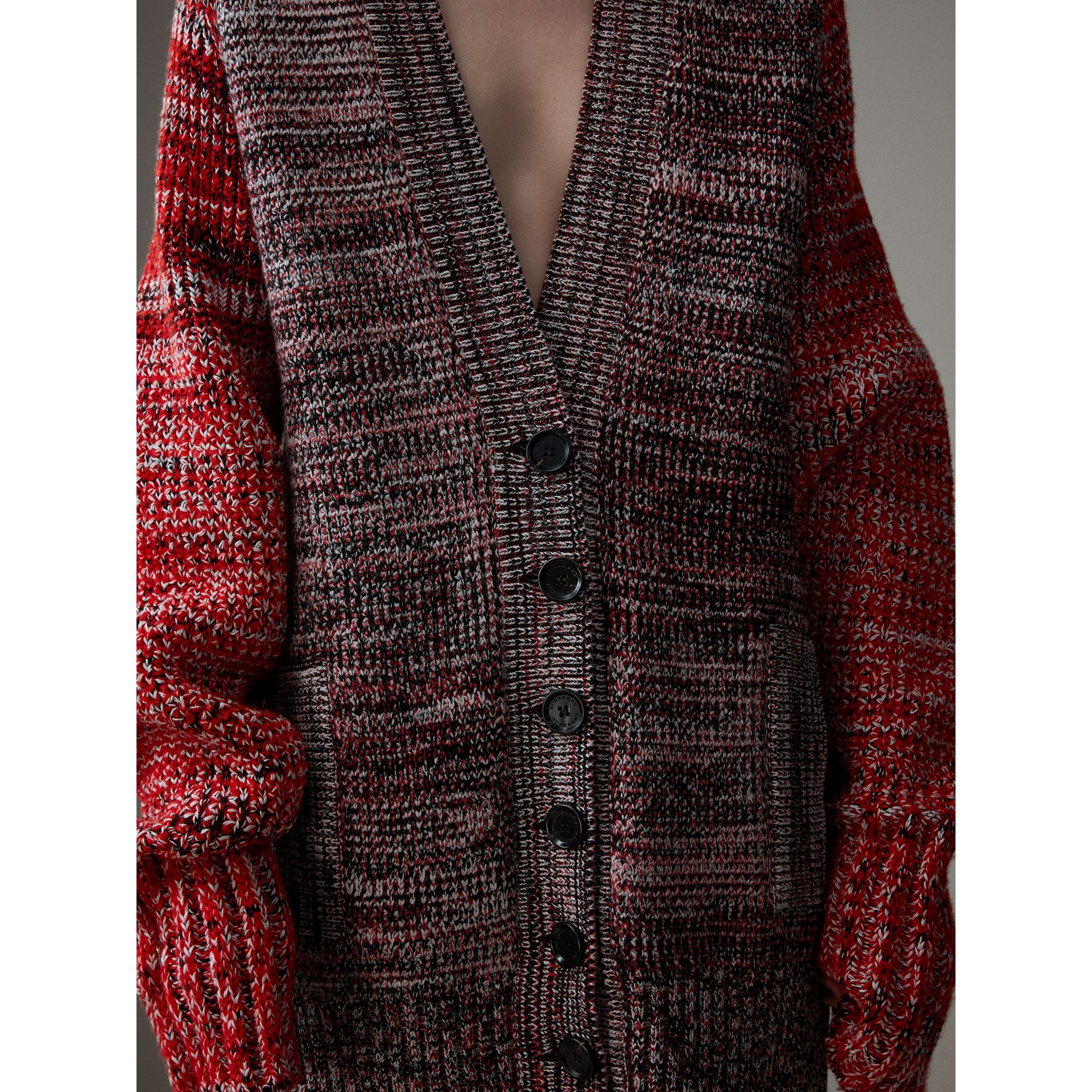 Cashmere Wool Blend Mouliné Oversized Cardigan in Red/black - Women | Burberry - gallery image 1