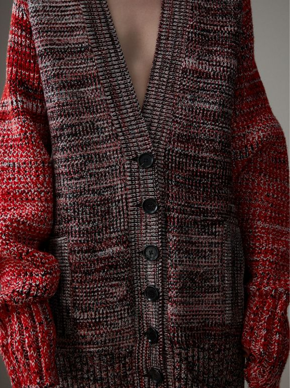 Cashmere Wool Blend Mouliné Oversized Cardigan in Red/black - Women | Burberry - cell image 1