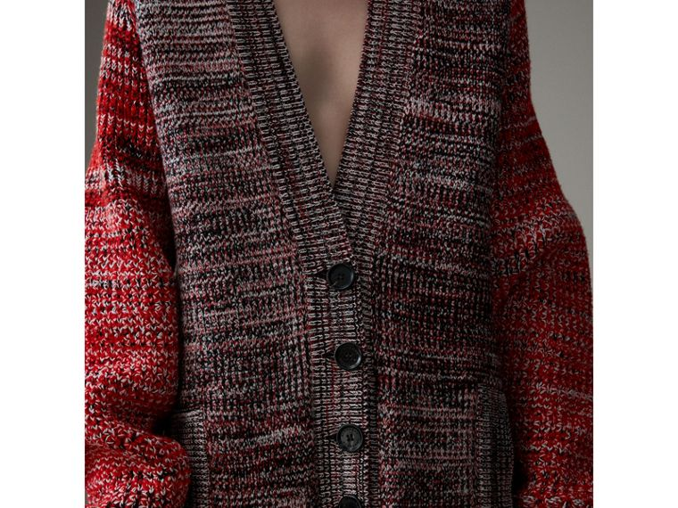 Cashmere Wool Blend Mouliné Oversized Cardigan in Red/black - Women | Burberry Australia - cell image 1