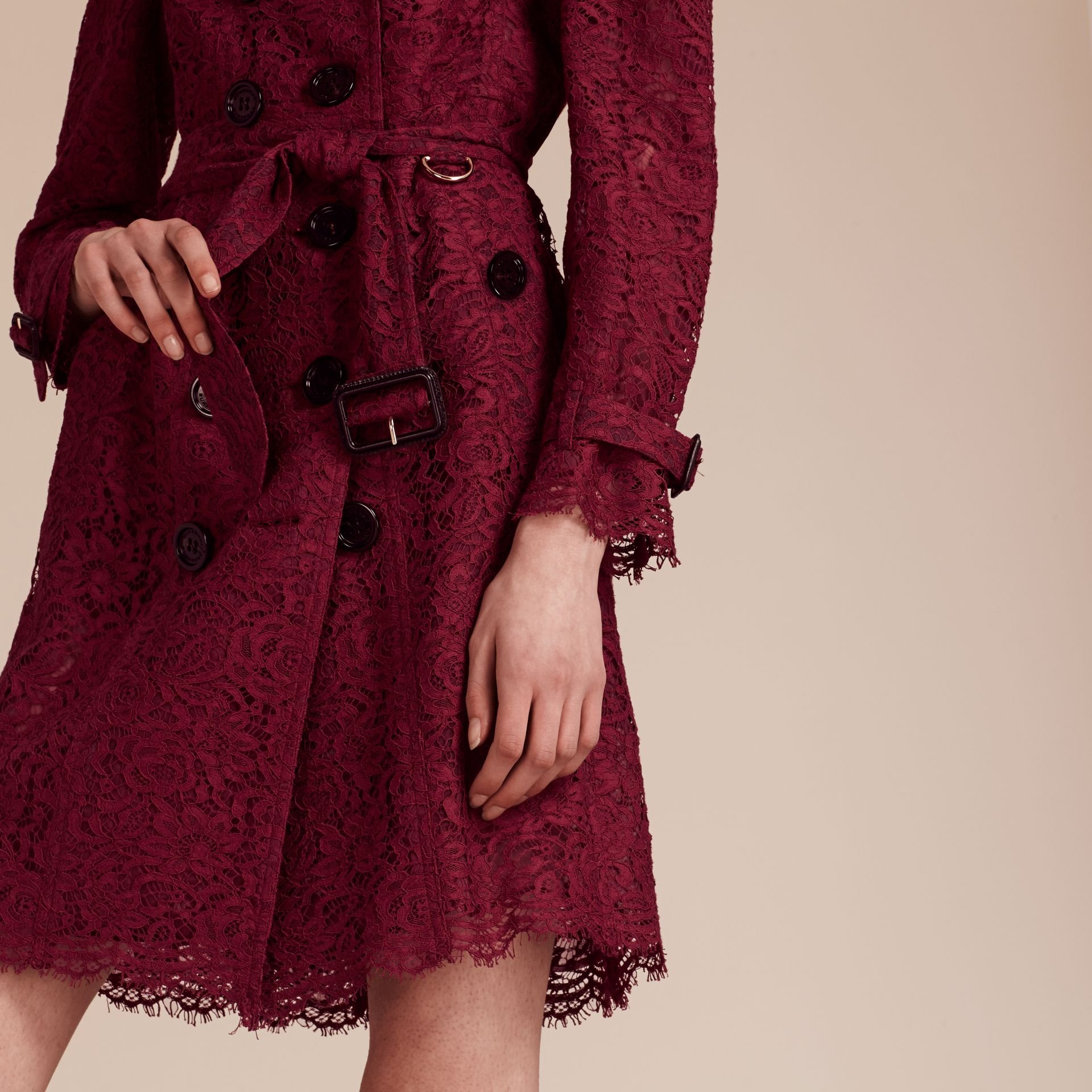 Dark crimson Italian Lace Scallop-hem Trench Coat - gallery image 6