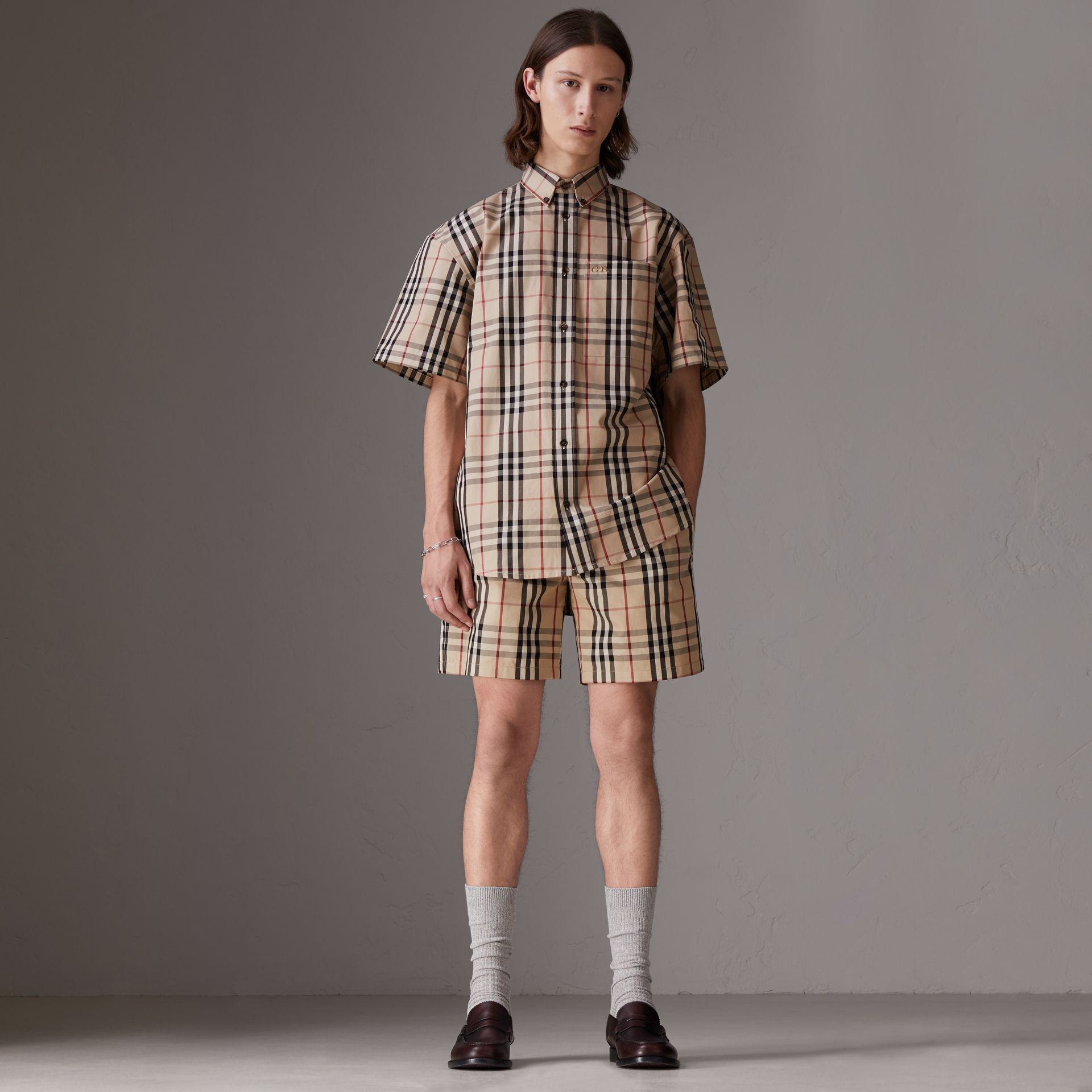Gosha x Burberry Short-sleeve Check Shirt in Honey | Burberry Australia - gallery image 2