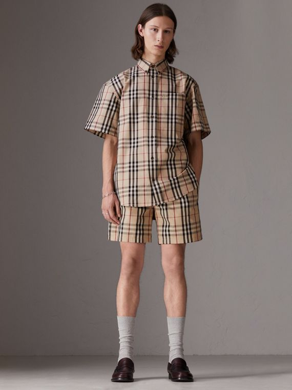 Gosha x Burberry Short-sleeve Check Shirt in Honey | Burberry United States - cell image 2